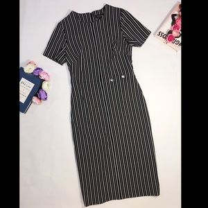 Banana Republic black gray striped midi dress 2
